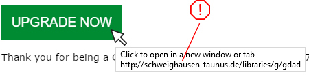 GoDaddy Phishing upgrade button hover
