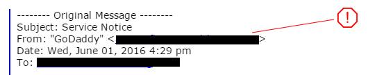 GoDaddy Phishing Email from address